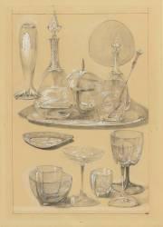 Services de verres et carafes, plateau (Mucha Alfons) - Muzeo.com