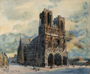 Vue de la cathédrale de Reims, légèrement décentrée par la droite (Boggs Frank Myers) - Muzeo.com