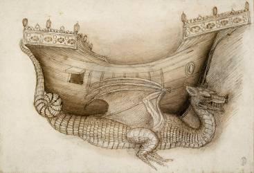 Coque d'un navire porté par un dragon, vus de profil et esquisse d'un dragon (Pisanello) - Muzeo.com