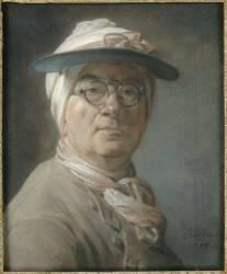 Autoportrait dit à l'abat-jour vert dit aussi L'homme à la visière (Chardin Jean Baptiste Siméon) - Muzeo.com