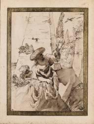 Bohémienne avec une fillette et une chouette (Carrache Annibale) - Muzeo.com