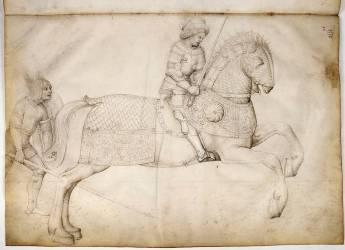 Cavalier au galop, et guerrier à pied (Bellini Jacopo) - Muzeo.com
