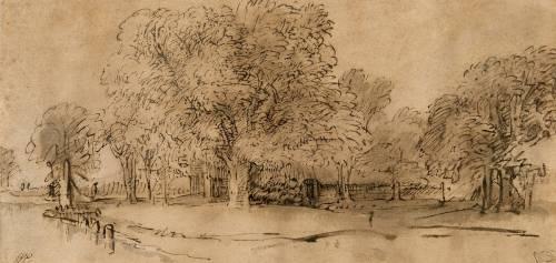 Chaumière cachée par des arbres, au bord d'un petit canal (Rembrandt Harmensz van Rijn) - Muzeo.com