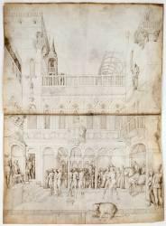 Etage supérieur d'un palais; Suzanne et les deux vieillards devant Daniel (Bellini Jacopo) - Muzeo.com