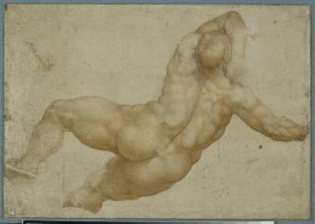 Etude d'homme de dos, d'après le Jugement Dernier de la Chapelle Sixtine (Michel-Ange (dit),...) - Muzeo.com