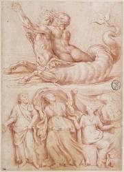 Monstre marin portant en croupe une nymphe ; un homme barbu et trois femmes (,D'après Raphaël (dit),...) - Muzeo.com