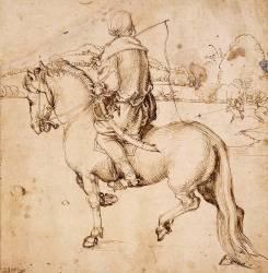 Cavalier oriental, de dos, se dirigeant vers la gauche, tenant un fouet (Dürer Albrecht) - Muzeo.com