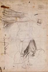 Deux études de draperie et reprise de la figure féminine du recto de face (Dürer Albrecht) - Muzeo.com