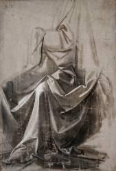 Draperie pour une figure assise, vue de trois quarts à gauche (De Vinci Léonard) - Muzeo.com