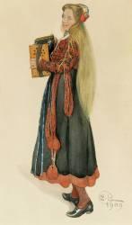 Lisbeth Playing the Accordian (Larsson Carl) - Muzeo.com