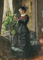 Portrait of Fru Lisen Samson, nee Hirsch, arranging Flowers at a Window (Zorn Anders Leonard) - Muzeo.com