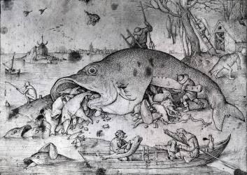 Big fishes eat small ones (Brueghel Pieter le Vieux) - Muzeo.com