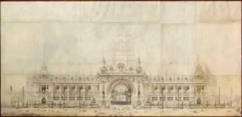 Projet pour le Grand Palais de l'Exposition Universelle de 1900 ; façade principale, élévation (Rives Gustave) - Muzeo.com