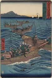 Bonito Fishing on the Ocean, Tosa Province, September 1855 (Hiroshige Utagawa) - Muzeo.com