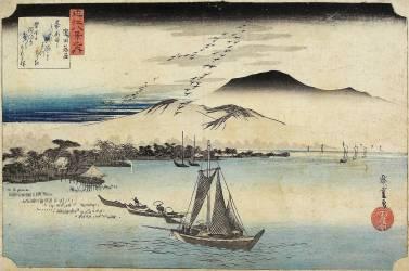 Geese homing at Katada (Hiroshige Utagawa) - Muzeo.com