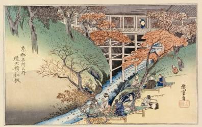 Red Maple leaves at Tsuten Bridge (Hiroshige Utagawa) - Muzeo.com