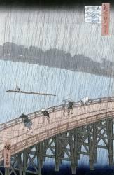 Sudden Shower over Shin-Ohashi Bridge ant Atake (Ohashi Atake no Yudashi) (Hiroshige Utagawa) - Muzeo.com
