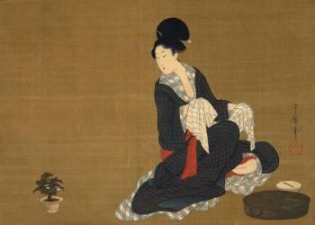 Woman at her morning toilette (Kitagawa Utamaro) - Muzeo.com