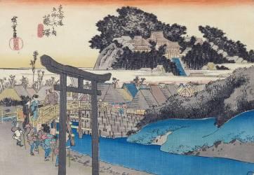 Fujisawa: the Yugyo-ji, or Shojoko-ji, Buddhist temple of the Ji sect (Hiroshige) - Muzeo.com