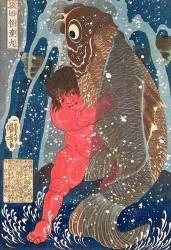 Kintoki Swims up the Waterfall (Utagawa Kuniyoshi) - Muzeo.com