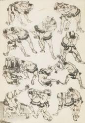The wrestlers (Hokusai) - Muzeo.com