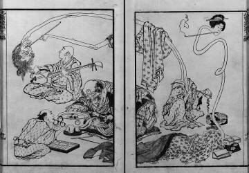 Monsters, ghosts musicians (Hokusai) - Muzeo.com