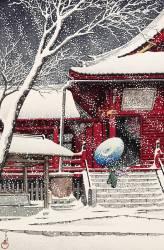 Snow at Kiyomizu Hall in Ueno, July 1929 (Kawase Hasui) - Muzeo.com
