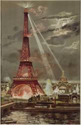Embrasement de la Tour Eiffel pendant l'Exposition Universelle de 1889 (Georges Garen) - Muzeo.com