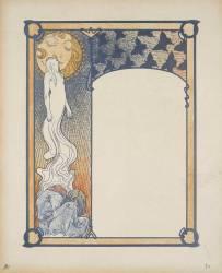 Figure s'élevant au-dessus d'un personnage, baisant les lèvres du soleil (Mucha Alfons) - Muzeo.com