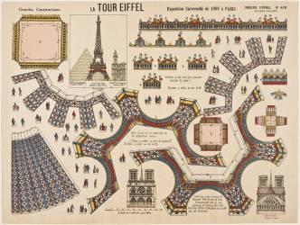 Imagerie d'Epinal: jeu de construction: la Tour Eiffel (anonyme) - Muzeo.com