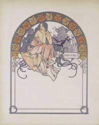 Jeune femme aux longs cheveux, assise à califourchon sur une poutre ;