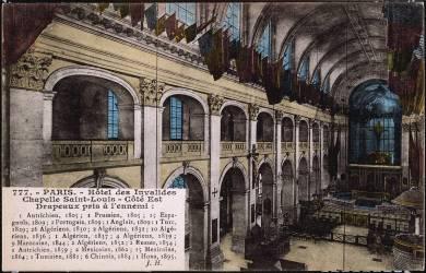 Paris, Hôtel des Invalides, chapelle Saint-Louis côté est, drapeaux pris à l'ennemi (anonyme) - Muzeo.com