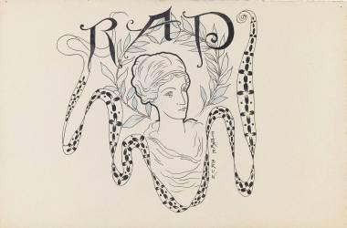 Projet de monogramme : buste de femme à l'antique entouré d'une branche de feuillage (Brun Pierre) - Muzeo.com