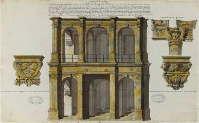 Album Robit : Le château de Fontainebleau, loge de la cour du Donjon et chapiteaux (anonyme) - Muzeo.com