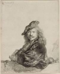 Autoportrait : Rembrandt appuyé ; 1639; 1er état (Rembrandt Harmensz van Rijn) - Muzeo.com