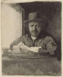 Autoportrait : Rembrandt dessinant ; 1er état (Rembrandt Harmensz van Rijn) - Muzeo.com