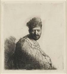 Buste d'homme à bonnet fourré et manteau brodé (Rembrandt Harmensz van Rijn) - Muzeo.com