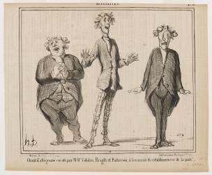 Chant d'allégresse exécuté par M.M. Cobden, Bright et Patterson à l'occasion du rétablissement de la (Daumier Honoré) - Muzeo.com