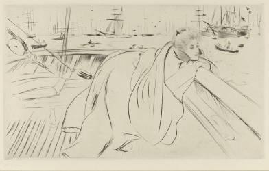 Femme appuyée sur un bastingage à Cowes (Helleu Paul César) - Muzeo.com