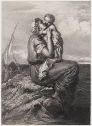 Femme de pêcheur de Mola di Gaëte embrassant son enfant (Lemoine Auguste-Charles...) - Muzeo.com