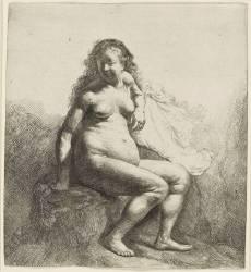 Femme nue assise sur une butte (Rembrandt Harmensz van Rijn) - Muzeo.com