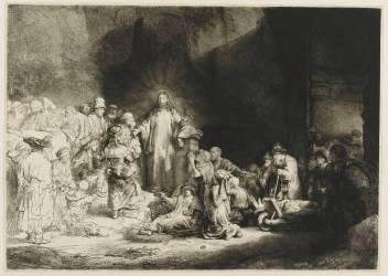 Jésus-Christ guérissant les malades dite La pièce de cent florins ; 2 ème état (Rembrandt Harmensz van Rijn) - Muzeo.com