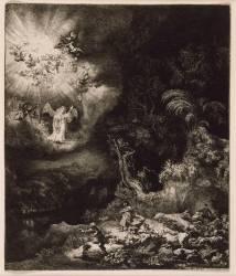 L'Annonciation aux Bergers ; 1634; 3ème état (Rembrandt Harmensz van Rijn) - Muzeo.com