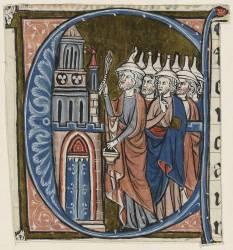 Lettre E : Salomon suivi des prêtres de la Loi consacre le nouveau temple (anonyme) - Muzeo.com