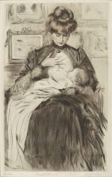 Me Helleu nourrissant sa fille Paulette (Helleu Paul César) - Muzeo.com