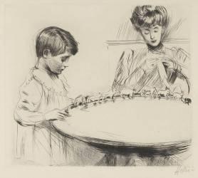 Mère brodant avec un petit garçon (Helleu Paul César) - Muzeo.com