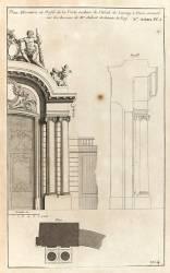 Planche 104 : Plan élévation et profil de la porte cochère de l'Hôtel de Lassay (Blondel Jacques-François) - Muzeo.com