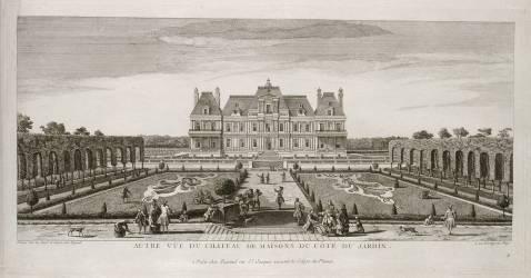 Planche 107: vue du château de Maisons (Maisons-Laffitte) prise depuis les jardins vers 1740 (Rigaud Jacques) - Muzeo.com