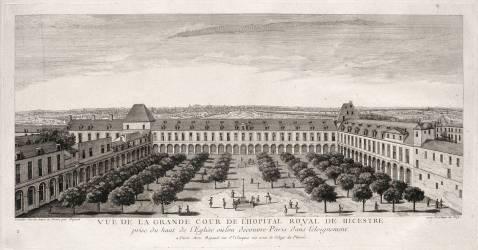Planche 120 : vue de la grande cour de l'hôpital royal de Bicêtre près de Paris, vers 1740 (Rigaud Jacques) - Muzeo.com