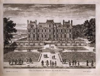 Planche 179 : vue du château de Maison (Maison-Laffitte) prise du côté du jardin (Perelle Adam) - Muzeo.com